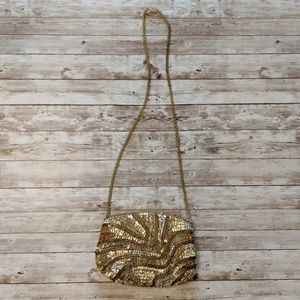 Vintage Gold Sequin Beaded Strap Evening Bag